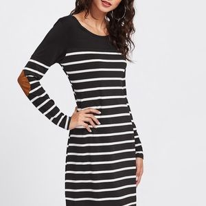 Striped Jersey Dress with Suede Elbow Patches